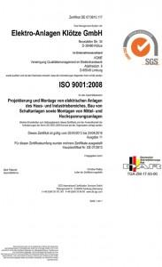 ISO-Zertifikat EAK Klötze