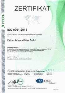 Zertifikat ISO 9001-2015